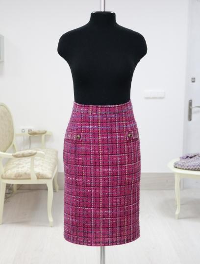 tweed skirt, chanel skirt, chanel, твидовая юбка, с чем носить твидовую юбку, твидовая юбка, юбка в офис, юбка на каждый день , юбка цвета фуксии, что одевать в офис