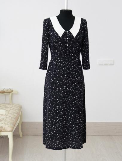 белорусская одежда, платье с белым воротничком, купить платье в минске, купить платье белорусских дизайнеров, 40s dress, 40s fashion, atelier altanova, пошив одежды минск, платье в мелкие цветы, платье в цветы на черном фоне, красивые платья минск купить, цветочный принт платья, модное платье купить, стильное платье купить, женственное платье купить минск, платье миди, модные платья минск, черно-белое платье , платье в мелкие цветочек,  купить дизайнерское платье,