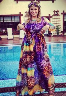 """Вечернее платье из шифона """"Сказочный лес"""" вид спереди на модели - пошив одежды"""