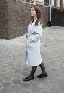 купить стильное пальто, купить пальто в Минске, пошив пальто на запах, пошив женских пальто, стильная модель пальто ,пальто без воротника,  купить серое пальто, купить шерстяное пальто, пошив пальто