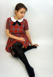 Платье в шотландскую клетку в стиле школьницы- пошив одежды