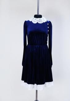 повседневное платье, классический стиль, лучшее ателье в минске ,  индивидуальный пошив,красивое платье , нарядное платье , бархатное платье, купить бархатное платье, синее бархатное платье, платье с кружевом, бархатное платье с кружевом, праздничное платье