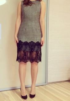 Платье в клетку с кружевом- пошив одежды