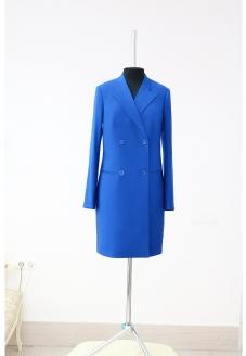 платье пиджак, женский пиджак, длинный жакет, ярко-синее платье , ярко-синий жакет