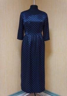 Шелковое вечернее платье в горошек - пошив одежды
